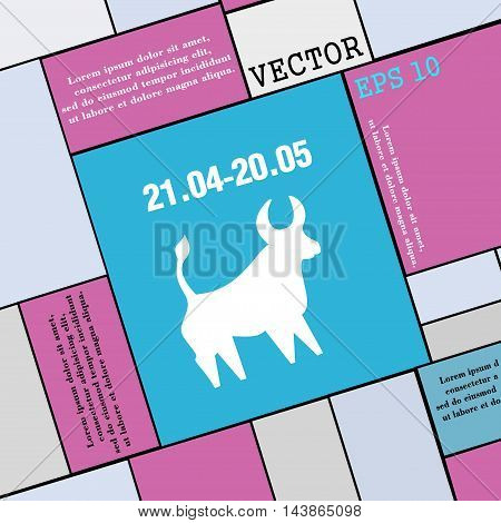 Taurus Icon Sign. Modern Flat Style For Your Design. Vector