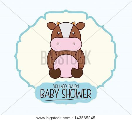 cow kawaii cartoon smiling baby shower icon. Colorful and seal stamp design. Vector illustration
