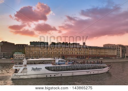 Moscow Russia - 21 August, 2016: Summer Cruise tours on the Moscow river on the Radisson Flotilla boats.