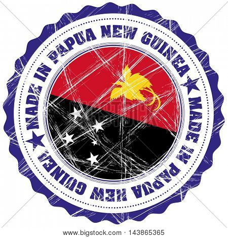 Made in Papua New Guinea grunge rubber stamp with flag