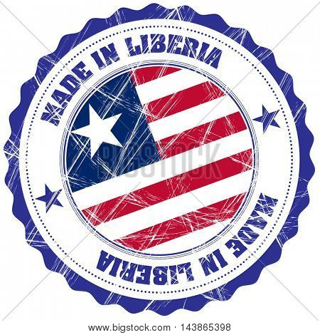 Made in Liberia grunge rubber stamp with flag