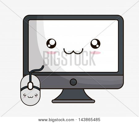 computer mouse kawaii cartoon smiling technology icon. Colorful and flat design. Vector illustration
