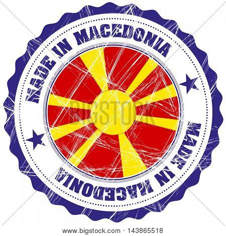 Made in Macedonia grunge rubber stamp with flag