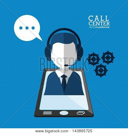 man headphone avatar smartphone gear call center technical service icon. Colorful design. Vector illustration