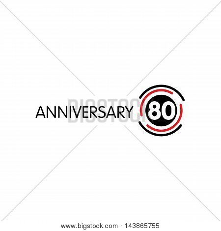 Anniversary vector unusual label. Seventieth anniversary symbol. 80 years birthday abstract logo. The arc in a circle. 80th jubilee