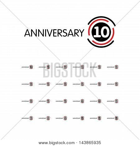 Anniversary vector unusual label. Eighty-fifth anniversary symbol. 85th years birthday abstract logo. The arc in a circle.