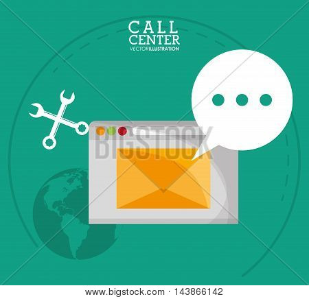envelope wrench planet call center technical service icon. Colorful design. Vector illustration