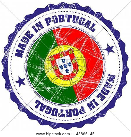 Made in Portugal grunge rubber stamp with flag