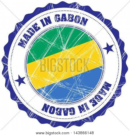Made in Gabon grunge rubber stamp with flag
