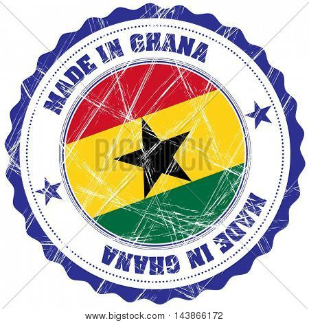 Made in Ghana grunge rubber stamp with flag