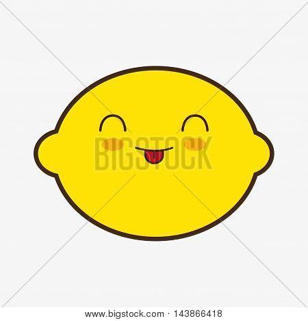 lemon kawaii cartoon smiling healthy food icon. Colorful and flat design. Vector illustration