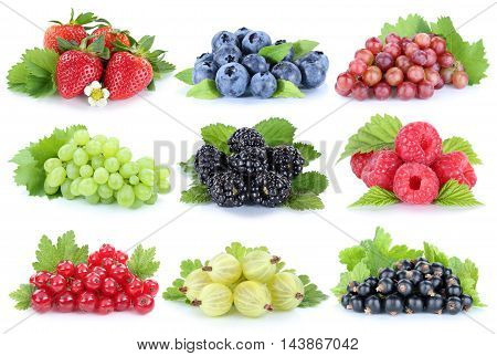 Collection Of Berries Grapes Strawberries Blueberries Berry Fruits