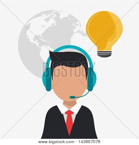 man headphone bulb avatar call center technical service icon. Colorful design. Vector illustration