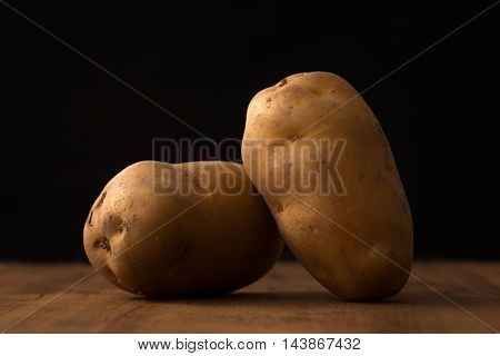 Potato Still Life Wood Black Background