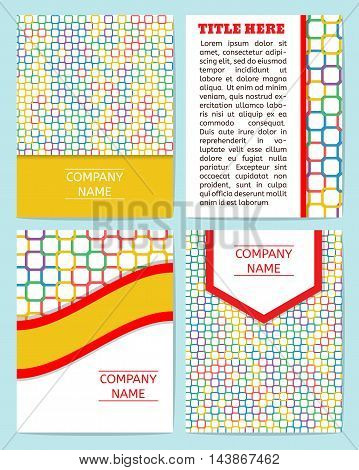 Vector set of business cards flayers banners with abstract pattern. Modern abstract style linear ornament