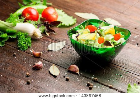 Fresh vegetables: tomatoes, pepper, leek, salad, potherbs and salad bowl on the dark wood table