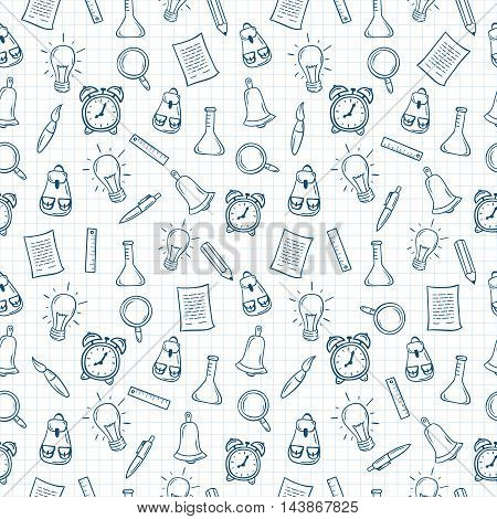 Back to school hand drawn seamless pattern on squared paper. Vector illustration.