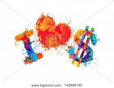 I love dollar. Vector watercolor splash paint