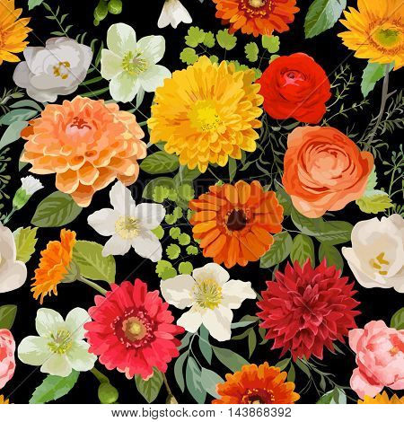 Floral Seamless Pattern. Summer and Autumn Flowers Background. Vector
