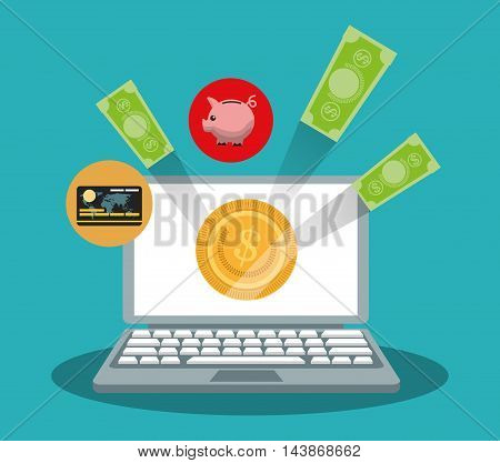 laptop bills coins piggy ecommerce shopping online technology icon. Colorful and Flat design. Vector illustration