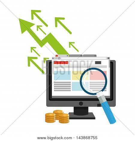 computer lupe coins ecommerce shopping online technology icon. Colorful and Flat design. Vector illustration