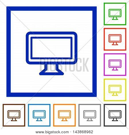 Set of color square framed monitor flat icons