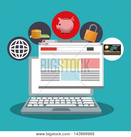laptop piggy money padlock credit card ecommerce shopping online technology icon. Colorful and Flat design. Vector illustration