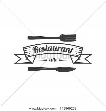 Restaurant Label. Food Service Logo Elements Isolated On White Background. Vector Illustration. Logotype Graphic Design Template.
