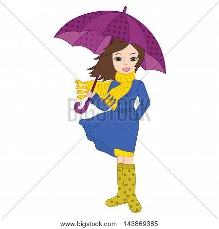 Vector autumn beautiful girl in blue coat with umbrella