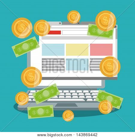 computer bills coins ecommerce shopping online technology icon. Colorful and Flat design. Vector illustration
