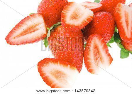fresh ripe pink strawberry isolated on white background