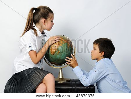 children with old globe