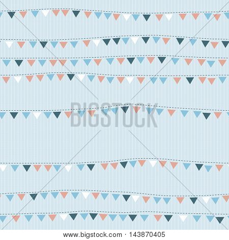 Seamless pattern with cute little flags, hanging on rope