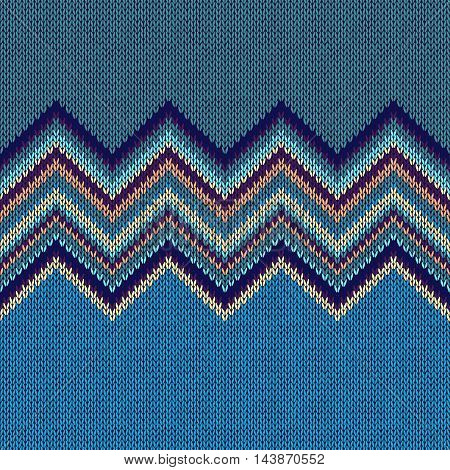 Seamless Ethnic Geometric Knitted Pattern. Style Blue Yellow Green Violet Background