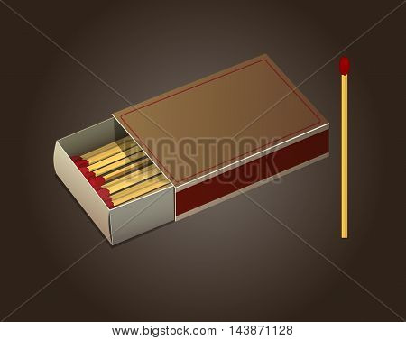 Vector Open Matchbox and Matches Illustration on brown background