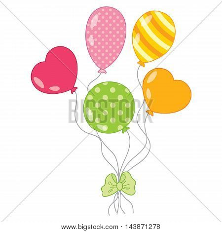 Vector red, pink, green, orange balloons with bow