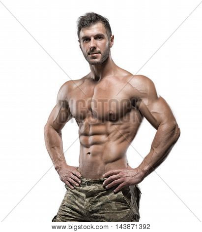 Muscular Bodybuilder Guy Isolated Over White Background