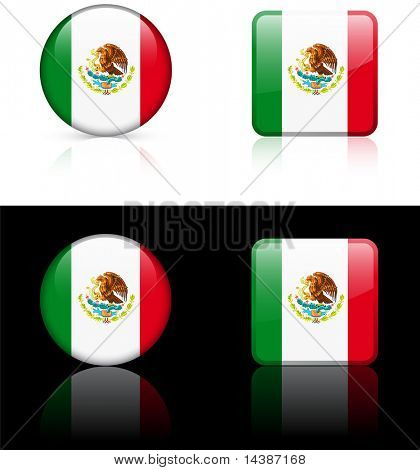 Mexico Flag Buttons on White and Black Background Original Vector Illustration