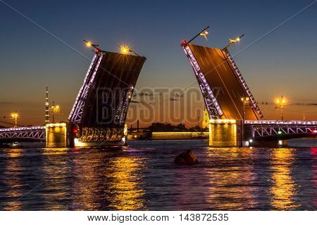 St. Petersburg, movable bridges, river Neva, white night