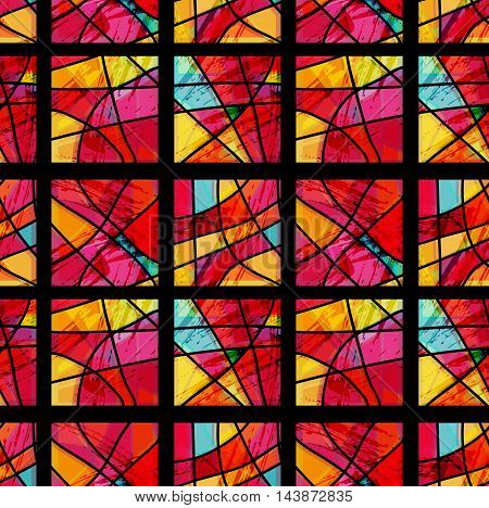 Overlay With Red And Yellow Shatter Glass Mosaic