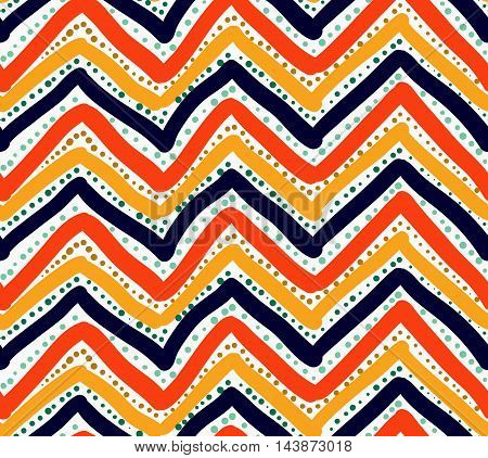 Painted Orange Red And Blue Chevron With Dots