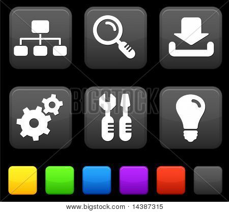 Internet Icons on Square Buttons Original vector Illustration