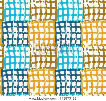 Rough Brush Blue And Brown Checkered Squares