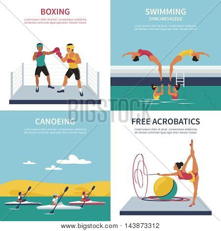 Set of illustrations on boxing synchronized swimming canoeing gymnastics. Vector flat style
