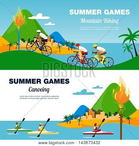 Colorful illustration for bicycling and canoeing. Flat style vector banners.