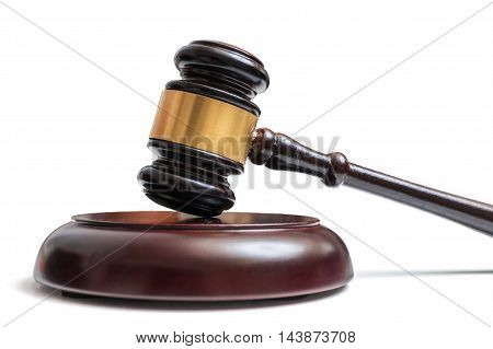 Wooden Gavel Isolated On White Background. Law, Justice And Auct