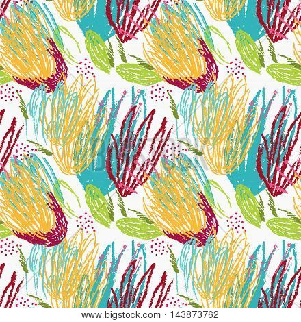 Rough Brush Green And Yellow Floral