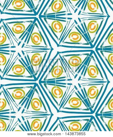 Rough Brush Green Triangles And Yellow Circles