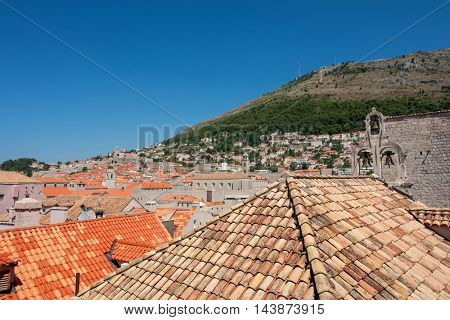 view to old churches and historical buildings of Dubrovnik, Croatia