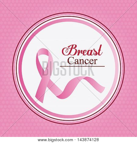 ribbon seal stamp breart cancer awareness campaign foundation icon. Pink design. Vector illustration